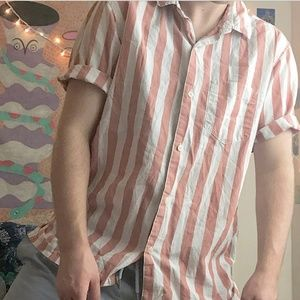 pink and white striped button up